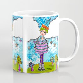 Funky Mixed Media Girl with Mushrooms, Clouds and Doodles in Dyan Reaveley Style with Bright Colors Coffee Mug