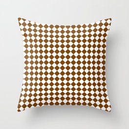 Small Diamonds - White and Chocolate Brown Throw Pillow