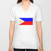 philippines V-neck T-shirts featuring Philippines country flag by tony tudor
