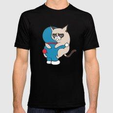 Cat Hugs Black LARGE Mens Fitted Tee