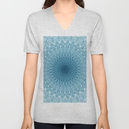 Stroked Quantum Mandala Blue 1 Unisex V-Neck