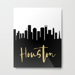 HOUSTON TEXAS DESIGNER SILHOUETTE SKYLINE ART Metal Print
