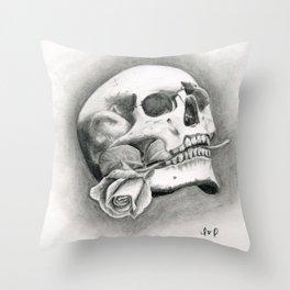 Skull & Rose Throw Pillow