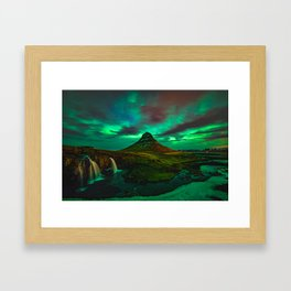 Lights over Kirkjufell Framed Art Print