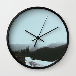 MIsty Cold Foggy Minimalist Winter Scandinavian Landscape River Greek Pine trees Wall Clock
