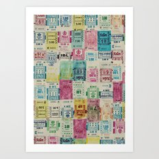 Random Bus Tickets Art Print