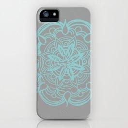Mint Gray Romantic Flower Mandala #4 #drawing #decor #art #society6 iPhone Case