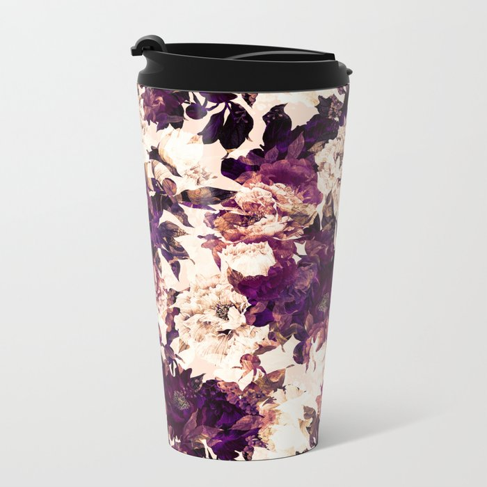 Watercolors Floral Pattern Metal Travel Mug