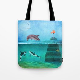 Whimsical Original Painting Life Under Sea By Liane Wright Tote Bag
