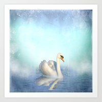 swan Art Prints featuring Swan by haroulita