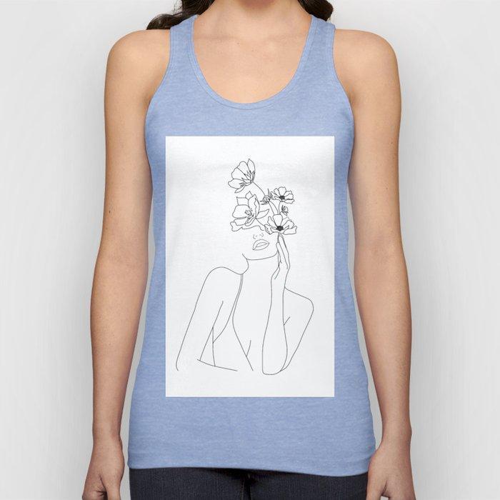 Minimal Line Art Woman with Flowers Unisex Tank Top