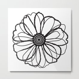 Anemone - Monotone Perennial Metal Print