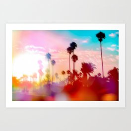 palm tree with sunset sky and light bokeh abstract background Art Print