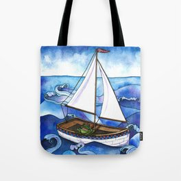 Froggy Goes Sailing Tote Bag
