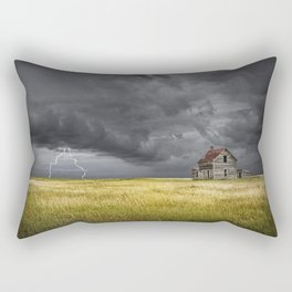 Thunderstorm on the Prairie with abandoned farmhouse Rectangular Pillow