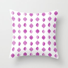 Water Drop Pattern Brush Graphic Artwork Radiant Orchid Love Throw Pillow