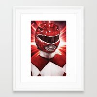 power ranger Framed Art Prints featuring Red Power Ranger by SachsIllustration