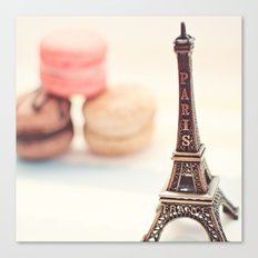 Macaron and Mini Eiffel Tower Canvas Print