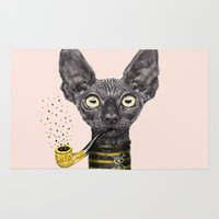 black cat Area & Throw Rugs featuring Black Cat by dogooder