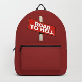 Road to hell sign Backpack