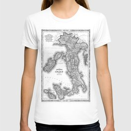 Vintage Map of Italy (1864) BW T-shirt