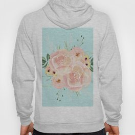Wild Roses on Succulent Blue Green Hoody