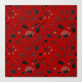 Red berry, Christmas Brier Spray Pattern Canvas Print