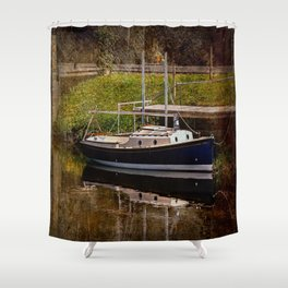 Little River Boat. Shower Curtain