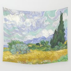 A Wheatfield with Cypresses by Vincent van Gogh Wall Tapestry