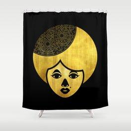 Golden Bronze Girl Shower Curtain