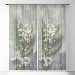 Beautiful Lily Of The Valley Sheer Curtain