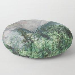 Foggy Forest Wanderlust Adventure - PNW Photography Floor Pillow