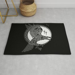 Viking raven of Death - White Rug