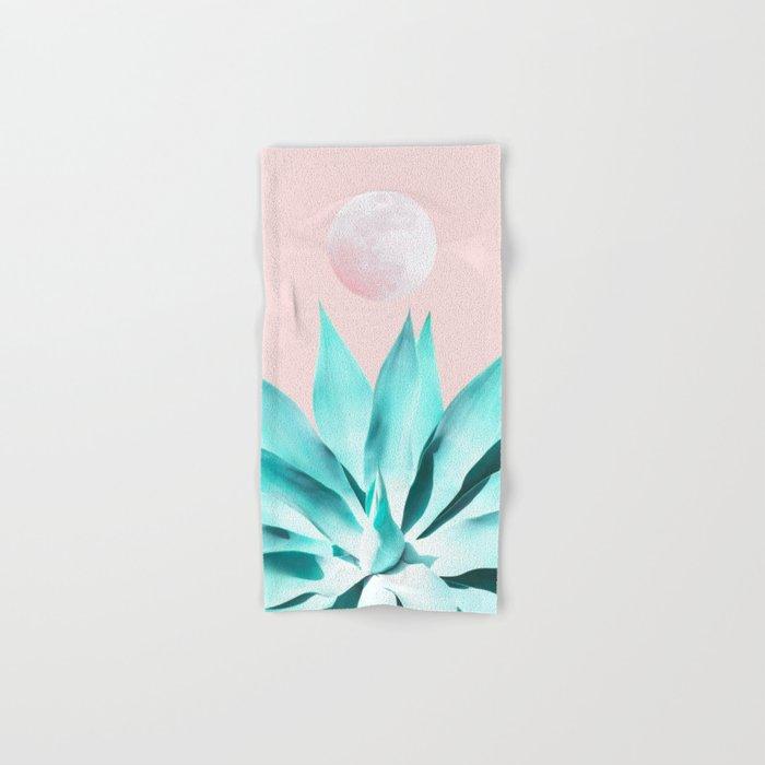 Stellar Agave and Full Moon - pastel aqua and pink Hand & Bath Towel