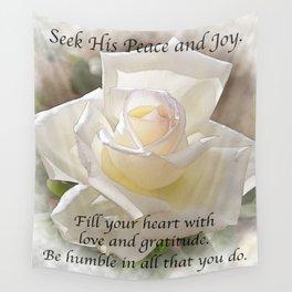 Seek His Peace: White Rose Bloom Wall Tapestry