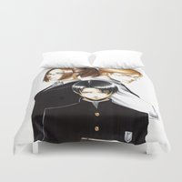 shingeki no kyojin Duvet Covers featuring OriSor Shingeki No Kyojin High School Fanart by Mistiqarts by Mistiqarts