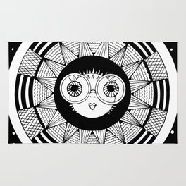 white puffer fish on abstract background. vector. zentangl. graphic arts Rug