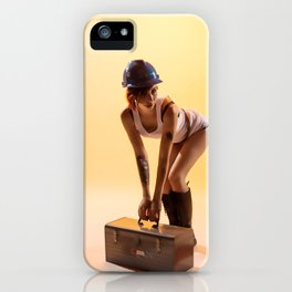 """Handywoman"" - The Playful Pinup - Hard Hat Construction Pin-up Girl by Maxwell H. Johnson iPhone Case"