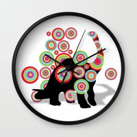 dinosaurs Wall Clocks featuring dinosaurs by mark ashkenazi