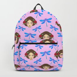 Pretty blue dragonflies, beautiful young girls. Feminine folk artistic gorgeous baby pink pattern Backpack