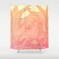 tequila Shower Curtains featuring Tequila sunrise by Hipsterdirtbag