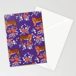 Tiger Clemson purple and orange florals university fan variety college football Stationery Cards