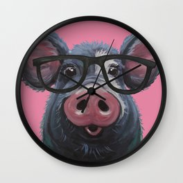 Pig with glasses art, Colorful pig art Wall Clock
