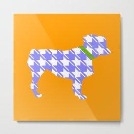 Australian Shepherd with Orange/Purple Houndstooth Metal Print