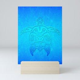 Ocean Blue Tribal Turtle Mini Art Print