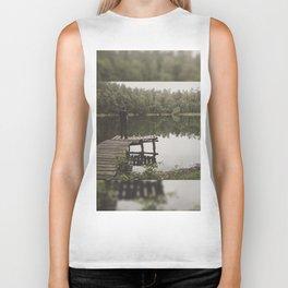 Human loneliness by the lake Biker Tank