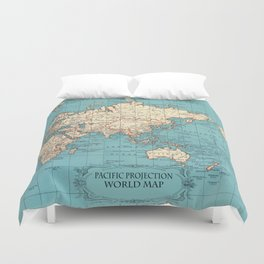 Pacific Projection World Map Duvet Cover