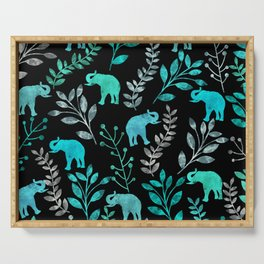 Watercolor Flowers & Elephants IV Serving Tray