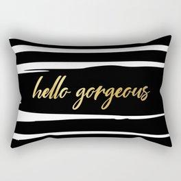 Hello Gorgeous, Cute, Meme, Fun Bathroom Art, Black and White Striped with Gold. Rectangular Pillow