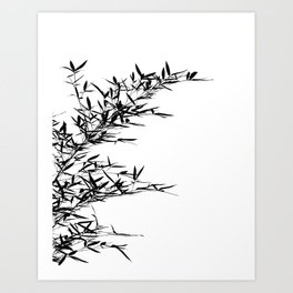Bamboo Branch and Leaves as Silhouette Art Print